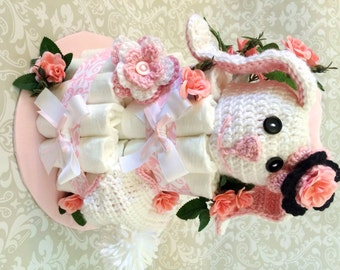 Baby Girl Bunny Diaper cake - Two Tier Diaper Cake - made to order