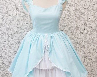 Alice in Wonderland Dress Baby Blue Sweetheart Neklace Ruffle Chiffon
