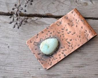 money clip // men's copper card holder // pilot mountain turquoise //