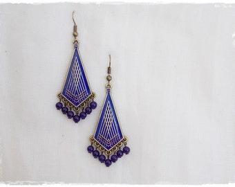 Amethyst Dangle Earrings, Geometric Earrings, Gypsy Purple Earrings, Dangle Brass Earrings, Boho Chandelier Earrings, Tribal Ethnic Earrings