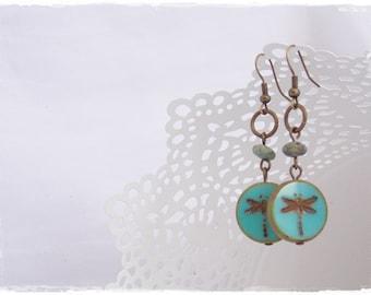 Teal Dragonfly Earrings, Boho Tribal Earrings, Woodland Earrings, Brass Turquoise Earrings, Dangling Earrings, Bohemian Dragonfly Jewelry