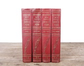 Red Encyclopedia Books / Books by Color / Old Books Vintage Books / Decorative Books / Vintage Book Set / Books for Decor Antique Books