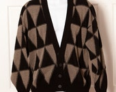 Vintage TOWNE by LONDON FOG Cardigan - geometric triangle pattern - L
