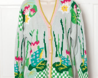 Vintage 90s Fun Cardigan - frogs lily pad pond - CARDIGAN BAY - M