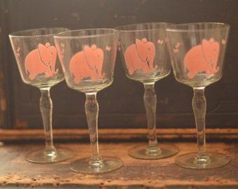 Vintage Pink Elephant Glasses, Vintage Libby Pink Elephant set, Stemware