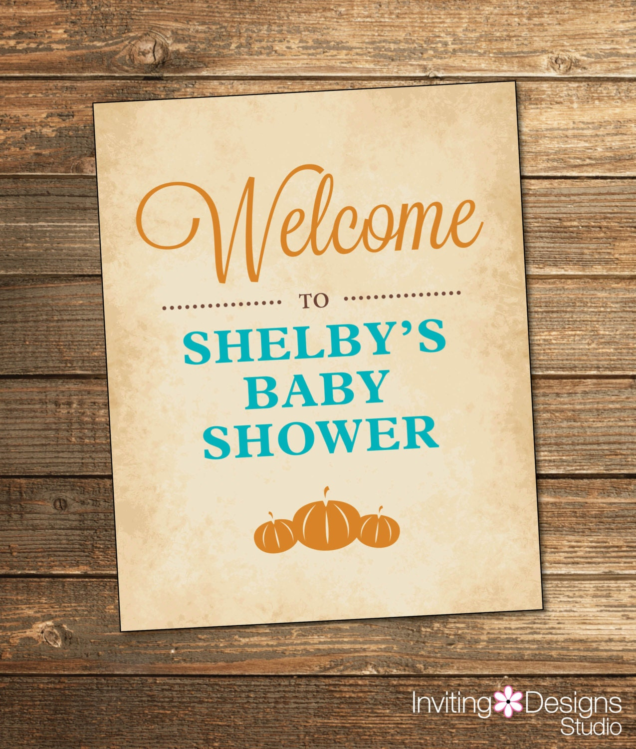 fall baby shower welcome sign blue and by invitingdesignstudio