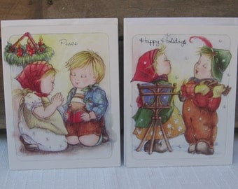 Vintage Christmas Cards, Christmas Children, Lot of 2, Christmas Stationary, Vintage Greeting Cards, 1992, Made in USA