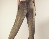 Vintage 80's Gold Sweater Pants / Black & Gold Knit Joggers M