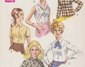 1969 Trim Tailored Blouse Vintage Pattern, Simplicity 8399, Notched Collar, Sleeveless, Short or Long Sleeves, Darts, Button Front