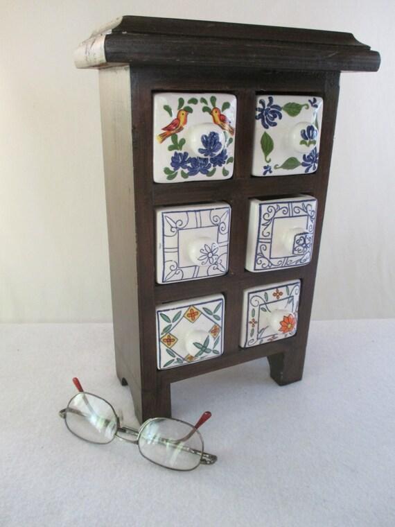 storage vintage wood with 6 ceramic drawers old world. Black Bedroom Furniture Sets. Home Design Ideas