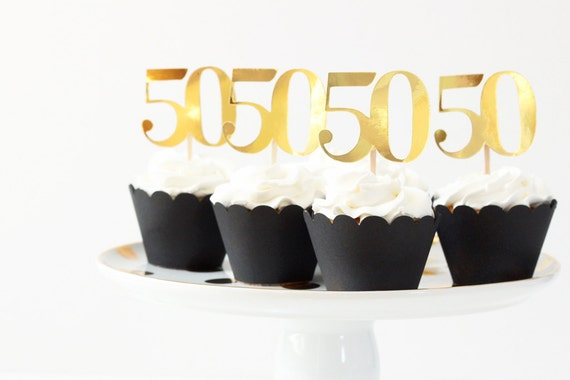 50th Birthday Cupcake Toppers Gold Metallic 50 Cake Topper Age Number ...