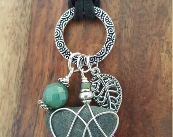 Silver Charm Necklace with Green Agate and Silver Leaf Charm