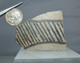 "Anasazi Pottery Shard Artifact From Arizona 2.87"" x 2.08"" x 0.24"" Rare Monochrome Color Antique Native American Artifact"