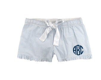 Monogrammed Seersucker Pajama Shorts - Light Blue Personalized With Monogram or Name PJ Shorts - Women's Monogrammed Seersucker Shorts