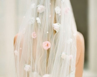 The Flora Veil-a flower veil created with cream and blush pink cascading flowers down soft ivory tulle