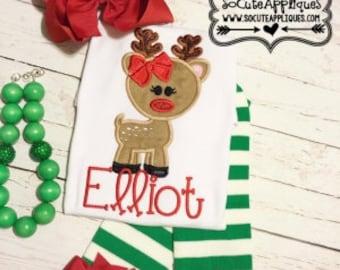 Girl's Reindeer with Bow Christmas Shirt - Christmas Shirt - Girl's Holiday Shirt Design