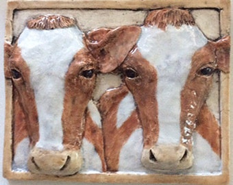 "Ceramic Cow Mural ""Two Sisters"""