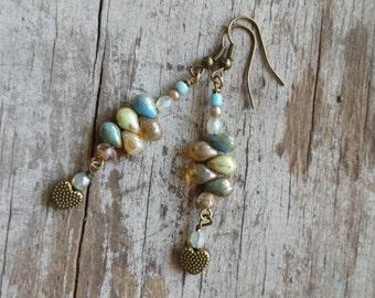 Bohemian Blue Beach Earrings Rustic Heart Mint Green