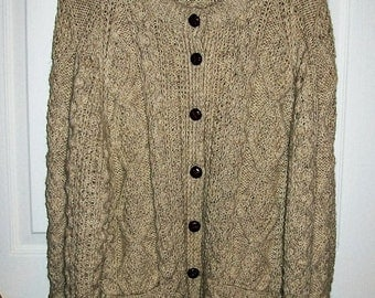 Vintage 1960s Ladies Tan Wool Cable Knit Cardigan Sweater Large Homemade Only 20 USD