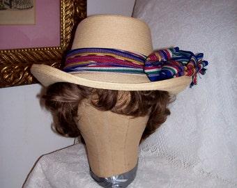 Vintage Ladies Panama Straw Hat 'La Giralda' Handcrafted in Guatemala Only 12 USD