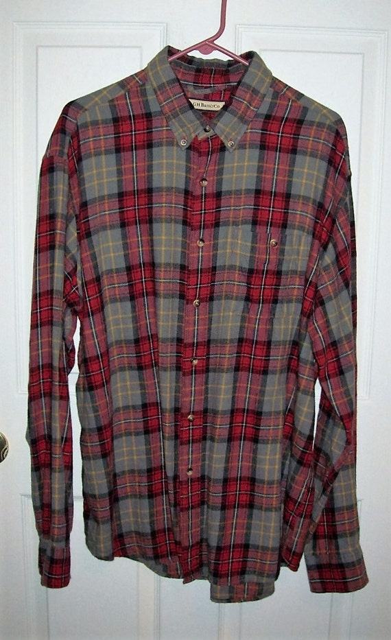 vintage men 39 s red and gray plaid flannel shirt by g h bass