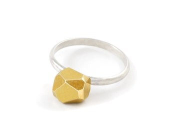 Sterling Silver Ring, Gold Nugget, Meteor Ring For Her, Geometric Ring, Sterling Silver Engagement Ring, RSB013