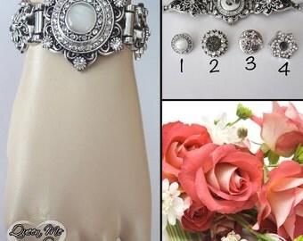 Crystal bracelet ~ Statement bracelet ~ XO's bracelet ~ Cross bracelet ~ Snap on, Charm bracelet,Wedding bracelet,Cuff bracelet, You choose