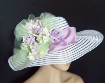 White and Lavender Wide Brim Hat, Kentucky Derby Hat, Garden Party Hat or Victorian Tea Party