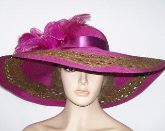 Wide Brim Purple Hat, Magenta Hat, Extra wide brim, Kentucky Derby Hat, Garden Party Hat or Victorian Tea Party