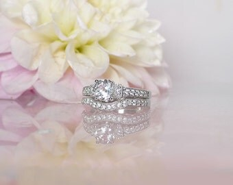 White Topaz Engagement Ring, White Topaz Wedding Ring, White Topaz Wedding Set, White Topaz Sterling Ring, White Topaz Silver Ring