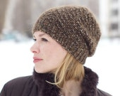 Hand knitted autumn winter hat - lime women hat urban wool hat