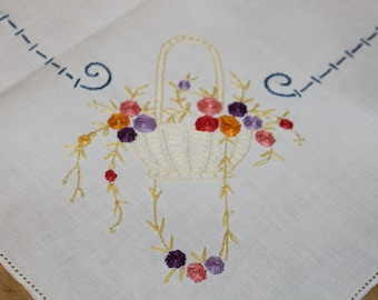 Vintage tablecloth hand embroidered with quaint flower baskets in each corner