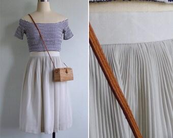 Vintage 80's Celadon Green Plissé Pleat High Waisted Skirt XS