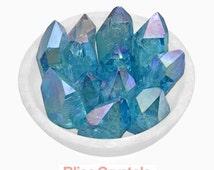 Heavenly! 1 Large AQUA AURA Quartz Rough Point Specimen Healing Crystal and Stone Iridescent Blue #SR22