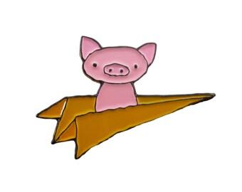 Pig Pin - Flying Pig Pin - Pig in aPaper Plane Pin - Fun Gift