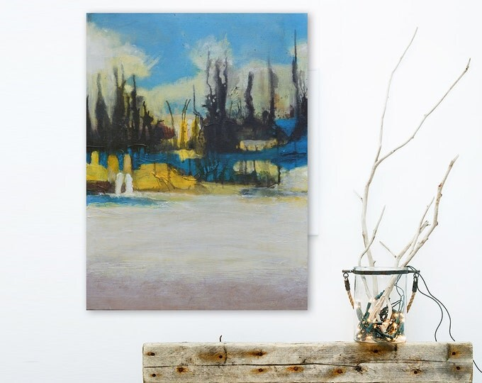 Abstract Painting Contemporary Yellow Blue Neutral Modern Fine Art on Canvas 18x24