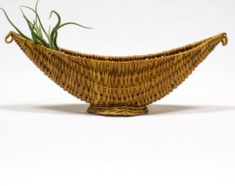 Vintage Basket / Woven Fruit Bowl, Bohemian Home Decor