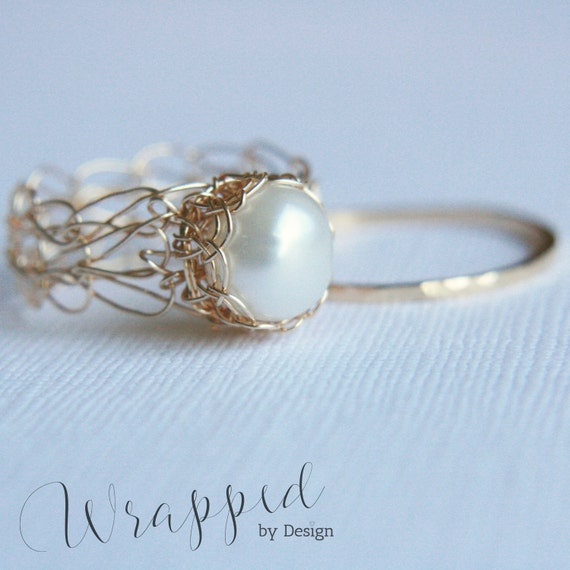 Gold Pearl Ring, June Birthstone // Cashmere collection // Wire Crocheted 14K Gold Fill & Freshwater Pearl - Any Size - MADE TO ORDER