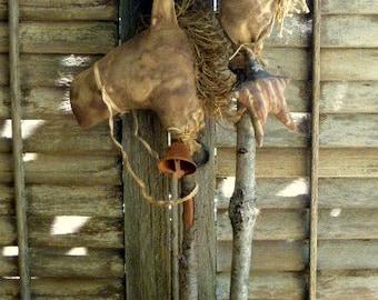 Primitive Stick Horses ~~ set of 2 ~~ rag stuffed