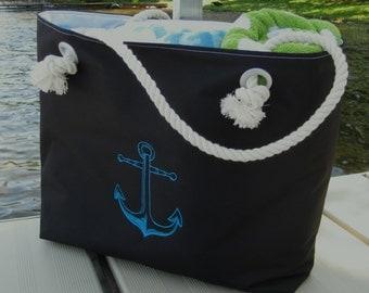 Waterproof Black Tote Dudes Gift Anchors Tote Boat Bag Beach Tote Weekender Bag Rope Handles Extra Large Tote 2 Pockets READY TO SHIP