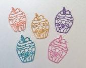 "Handmade, 5 Cupcakes, Dainty, 2 1/2"", 1 3/4"", Pink, Orange, Yellow, Blue, Turquoise, Cardstock"