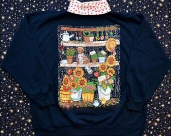 Vintage 80s Sunflowers Flowers Teddy Bears Gardening Turtleneck Sweatshirt