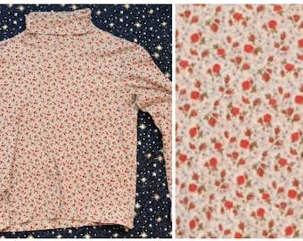 Vintage 90s Rose Floral Turtleneck Sweater