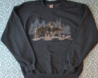 Weird Ironic WOLVES Timber Wolf Crewneck Sweatshirt
