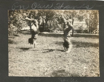 Vintage Snapshot Photo - Handstands - Twins - Motion Action Shot - Found Vernacular Photo - Antique Photo
