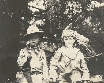 Cowboys and Indians - Vintage Photo - Costumes - Play - Toy Gun - Headdress - Original Found Photo - Dress Up - Collectibles