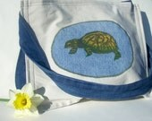 Upcycled Tote - Green Turtle Nature Hand-Painted Purse - Hippie Twill Denim Large Handbag