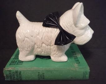 West Highland terrier dog figurine white with black bow stylized enesco 1980's White Scottish terrier