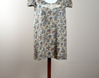 Paisley tunic dress, boho dress, mini dress, cotton dress for women, womens clothing, petite dress