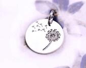 Silver Dandelion charm, Sterling silver 925 flower, dandelion pendant, 14mm - 1pc - F418